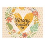 Happy Valentine's Day Card in Bright Colours Postcard