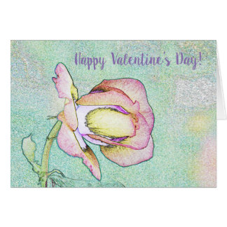Happy Valentine's Day Card Pink Rose Photo Art