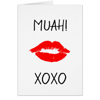 Happy Valentine's Day Card Red Lips Kiss Muah