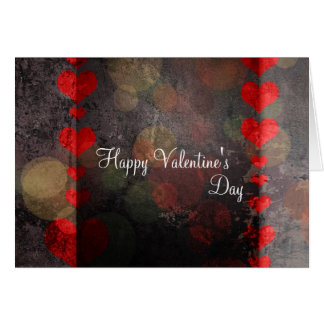 Happy Valentine's Day Card Retro Hearts Red Brown