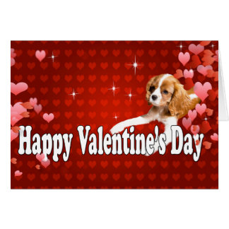 Happy Valentine's Day CKCS Puppy With Hearts Greeting Card