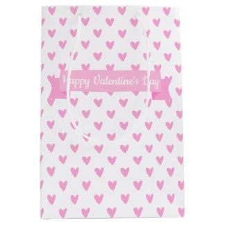Happy Valentine's Day | Cute Pink Hearts Pattern Medium Gift Bag