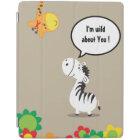 Happy Valentines Day cute zebra and giraffe iPad Cover