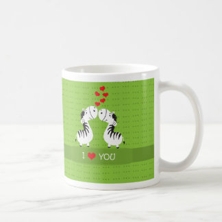 Happy Valentines Day cute zebras with hearts Mugs
