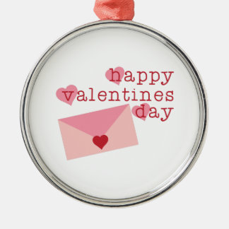 Happy Valentines Day Silver-Colored Round Ornament