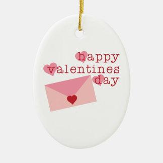 Happy Valentines Day Ceramic Oval Ornament