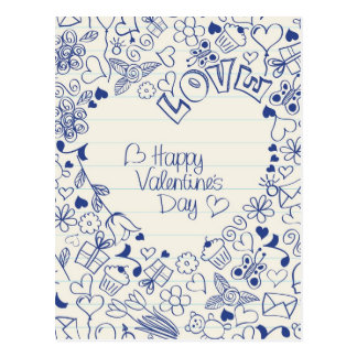 Happy Valentine's Day doodles! Postcard