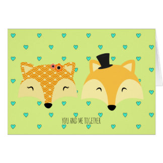 happy valentines day foxes whimsical card