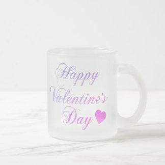 Happy Valentine's Day Frosted Glass Coffee Mug