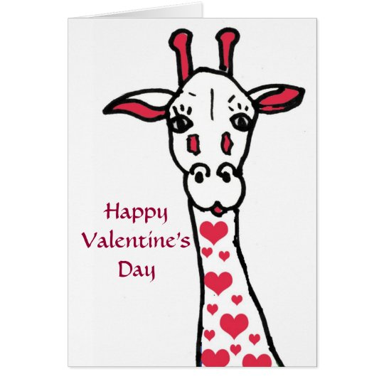 Happy Valentine's Day Giraffe and Hearts Card