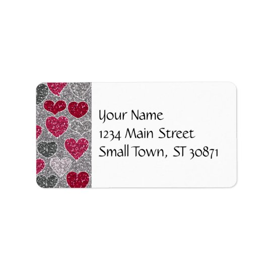 Happy Valentine's Day Glitter Love Bling Hearts Address Label