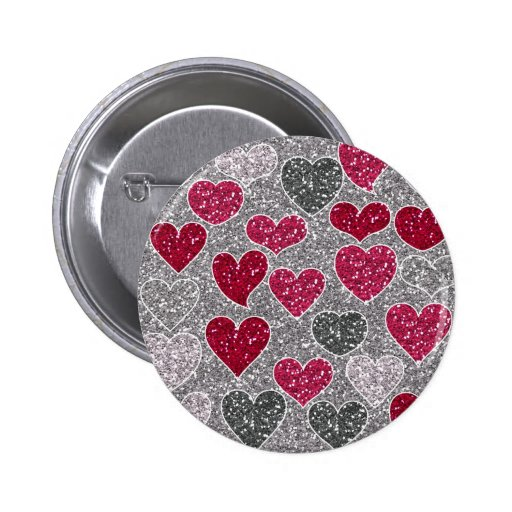Happy Valentine's Day Glitter Love Bling Hearts Pins