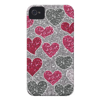 Happy Valentine's Day Glitter Love Bling Hearts Case-Mate iPhone 4 Cases