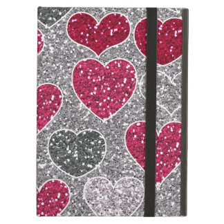 Happy Valentine's Day Glitter Love Bling Hearts Cover For iPad Air