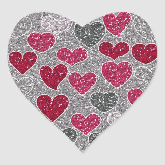 Happy Valentine's Day Glitter Love Bling Hearts Heart Sticker