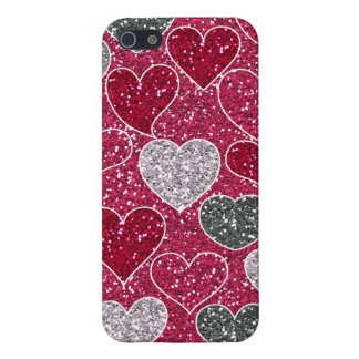Happy Valentine's Day Glitter Love Bling Hearts iPhone 5 Cases