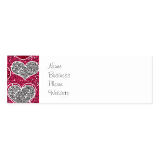 Happy Valentine's Day Glitter Love Bling Hearts Pack Of Skinny Business Cards