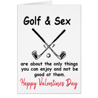 Happy Valentine's Day Golfing Golfer Golf Card