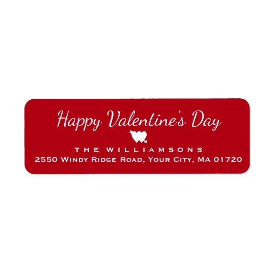 Happy Valentine's Day Heart and Arrow Personalised Return Address Label