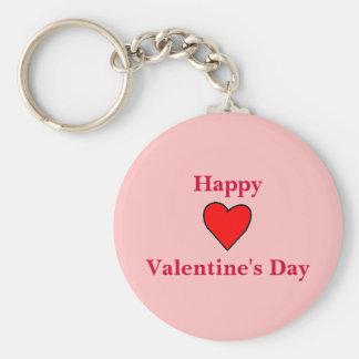 Happy Valentine's Day Heart Basic Round Button Key Ring