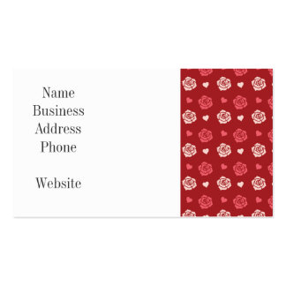 Happy Valentine's Day Hearts and Flowers Red Pink Business Card
