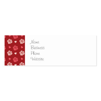 Happy Valentine's Day Hearts and Flowers Red Pink Pack Of Skinny Business Cards