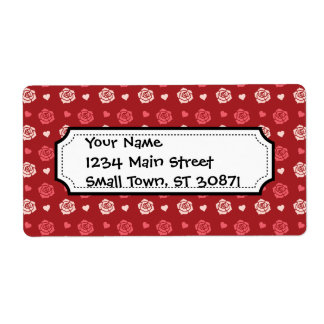 Happy Valentine's Day Hearts and Flowers Red Pink Shipping Label