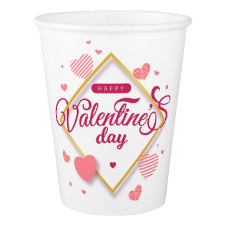 Happy Valentine's Day Hearts Frame | Paper Cup