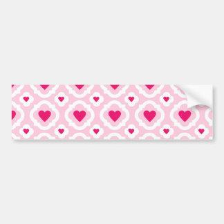 Happy Valentine's Day Hearts Pattern Pink Red Bumper Sticker