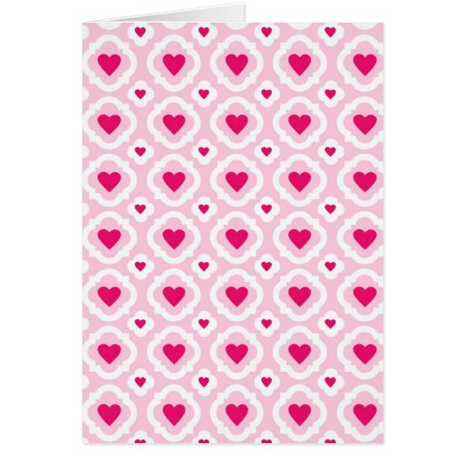 Happy Valentine's Day Hearts Pattern Pink Red Cards