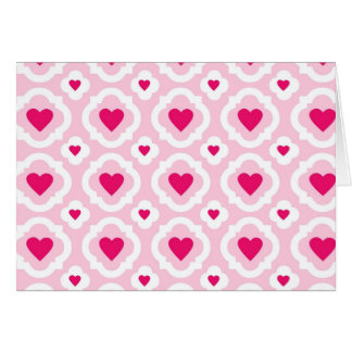 Happy Valentine's Day Hearts Pattern Pink Red Note Card