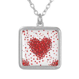 happy valentines day hearts silver plated necklace