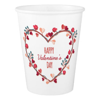 Happy Valentine's Day Hearts Wreath | Paper Cup