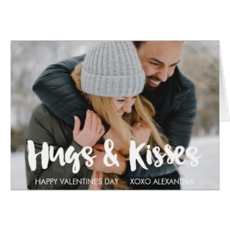 Happy Valentine's Day Hugs & Kisses Brush Script Card