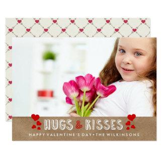 Happy Valentine's Day Hugs & Kisses Photo 13 Cm X 18 Cm Invitation Card