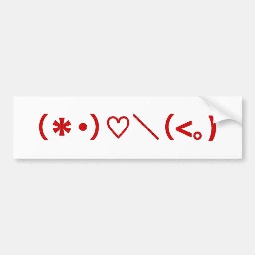 Happy Valentine's Day / Japanese Emoticons Bumper Sticker