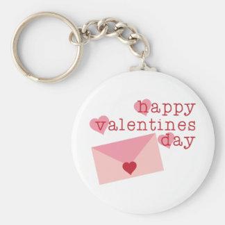 Happy Valentines Day Basic Round Button Keychain