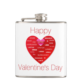 Happy Valentine's Day Many Languages of Love Hip Flask