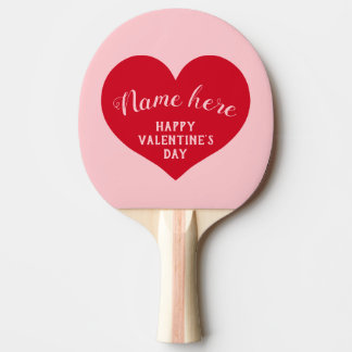 Happy Valentines day name Ping Pong Paddle