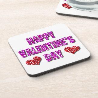 Happy Valentine's Day Pink and Red Drink Coasters