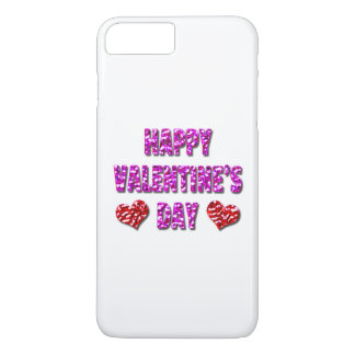 Happy Valentine's Day Pink and Red iPhone Case