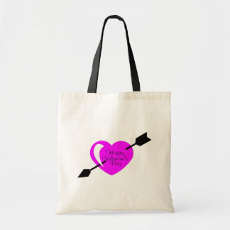 Happy Valentines Day Pink Black Heart Bag