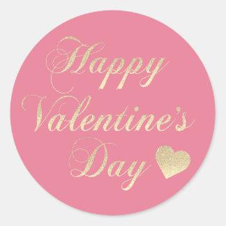 HAPPY VALENTINE's DAY Pink Gold Glitter Heart Classic Round Sticker