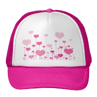 Happy Valentine's Day pink hearts Hats