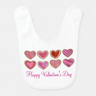 Happy Valentine's Day Pink Hearts Heart Cookie Bib
