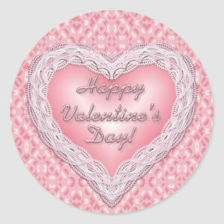 Happy Valentine's Day pink lace heart Round Sticker