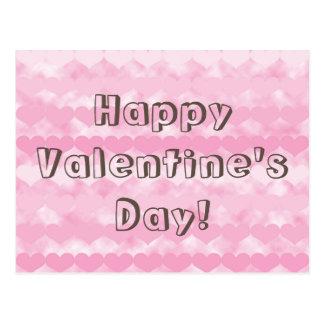 Happy Valentine's Day Pink Valentine Hearts Postcard