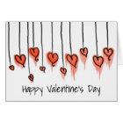 Happy Valentine's Day Pretty Red Watercolor Hearts Card