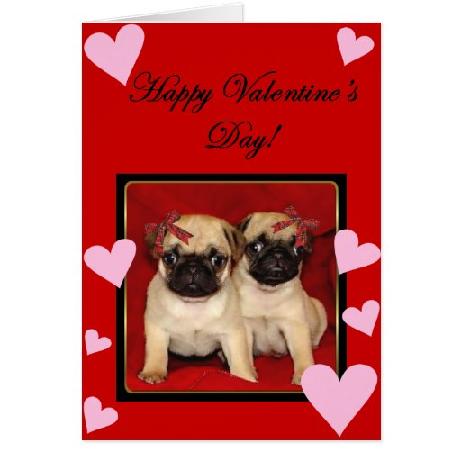 Happy Valentine's day Pugs greeting card