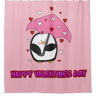 Happy Valentines Day Raining Hearts Shower Curtain